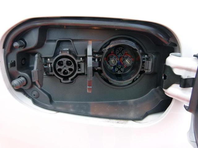 充電リッドです。左側が普通充電(約4時間で満充電)で右側が急速充電(約25分で80%)です。