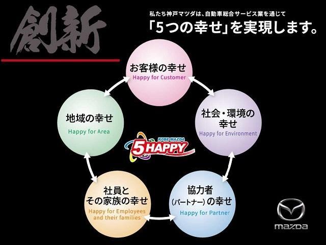 神戸マツダは、自動車総合サービス業を通じて「5つの幸せ」を実現します。