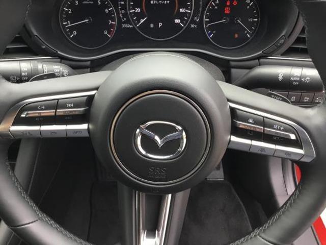 右手がアップ・左手がダウンのパドルシフトがありますので、より操っている感覚をお持ちいただけます。安全快適なドライブのお供に全車速追従機能付きのレーダークルーズコントロールも搭載しております。