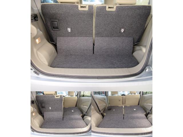 荷室スペースです。後席が前後にスライドするので、使い方に応じてアレンジも可能!