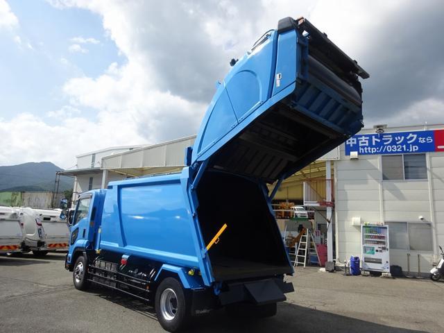 増トン プレス式パッカー 計量器付 10.2m3 新明和 G-PX 連続積込 汚水タンク無し 標準幅 4350kg積載(2枚目)