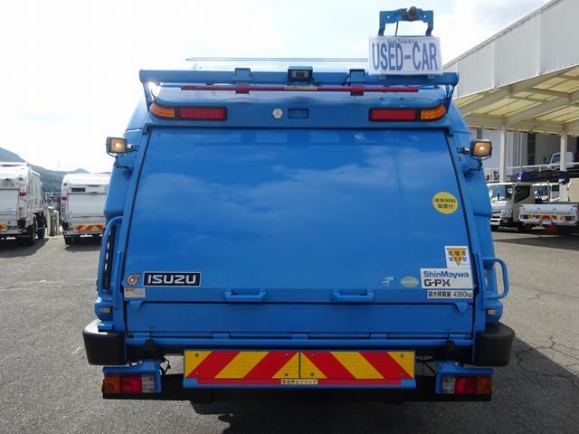 増トン プレス式パッカー 計量器付 10.2m3 新明和 G-PX 連続積込 汚水タンク無し 標準幅 4350kg積載(6枚目)