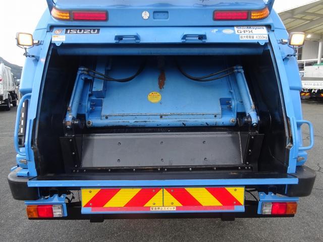 増トン プレス式パッカー 計量器付 10.2m3 新明和 G-PX 連続積込 汚水タンク無し 標準幅 4350kg積載(13枚目)