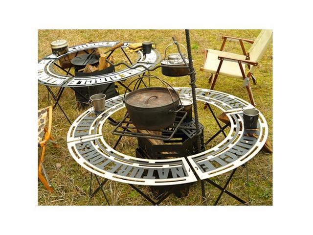 """""""コンパクトに折りたためるサークル焚き火テーブルです。焚火台を使用しての焚火の際に便利なテーブルです。天板・フレームには耐熱塗装を施しております!またコンパクトに折りたたみでき、積載にとても便利です"""