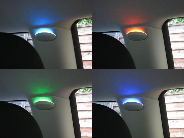 ■【アンビエントライト】●ミニのインテリアをほのかに照らし、華やかに演出するアンビエントライトが装備。カラーは12色が選択でき、明るさの調整も可能です。夜間のドライビングが楽しくなるアイテムです!