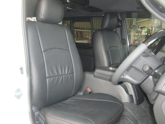 ロングスーパーGL NEW6型ハイエース 最新地デジナビ バックカメラ レザーシート キャンプ車中泊ベッドキット フロントエアロ ローダウン1インチ〜3インチ 60種類以上から選べるアルミホイール標準装備(5枚目)
