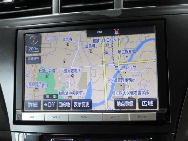 トヨタ純正ナビゲーション(NSZA-X64T)。フルセグテレビ、DVD再生機能も付いています。