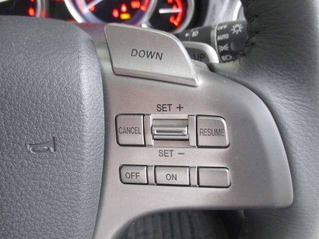 速度設定をすればアクセルオフで走行してくれる便利な機能です。安全のため、渋滞のない高速道路でご使用ください。