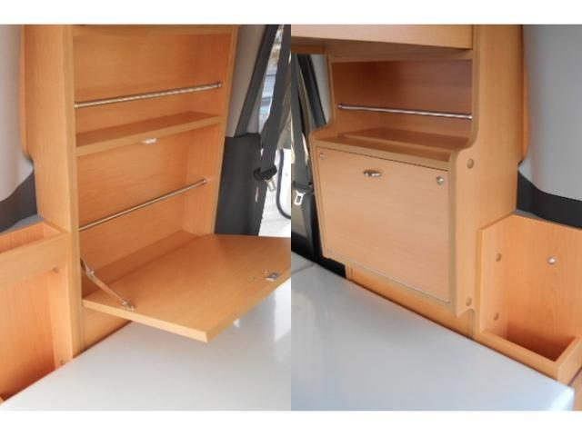 多目的引き出しには食器や衣服などを収納出来ます。スライド式テーブルは屋外でのお食事等を楽しむ時に使えます。
