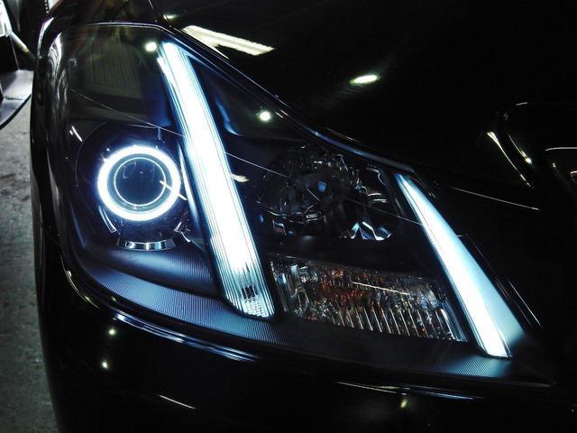別途オプションで変更できます☆車幅灯も上部まで光るロングタイプにLEDで加工、グリル側のラインも通常純正は光りませんがLEDで加工し光ります☆リングの針金も目立たないように加工しています
