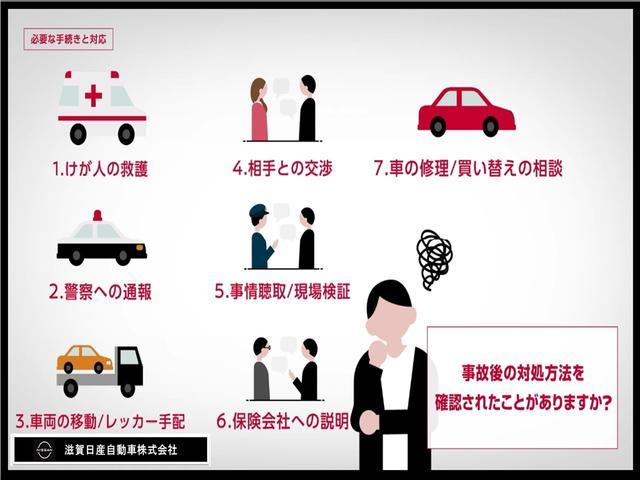 1、けが人の救護 2、警察への通報 3、車両の移動/レッカー手配 4、相手との交渉 5、事故聴取/現場検証 6、保険会社への説明 7、車の修理/買換えの相談 ・事故後の対処方法をご存知頂いてますか?