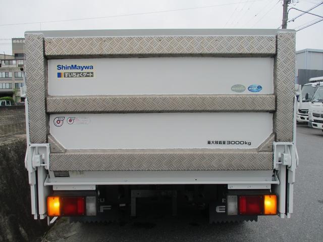 フルフラットロー 3トン 平ボディ 新明和製垂直パワーゲート 昇降600kg 3ペダル 6MT 荷寸307-160-37(63) パワーゲート面W158-L70(84) 床板鉄板 4分割アオリ 荷台塗装(4枚目)
