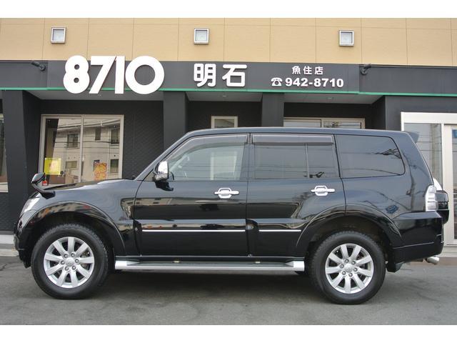 三菱 パジェロ ロング スーパーエクシード黒革4WDロックフォードナビTV