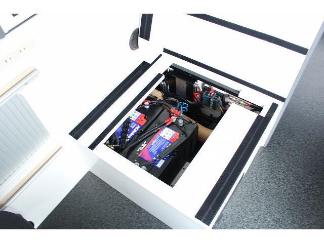 ナッツRV リーク ワンオーナー 寒冷地仕様 リフトアップ ツインサブ FFヒーター 1500Wインバーター シンク カセットコンロ エンゲル冷蔵庫 走行充電 外部充電 外部電源 社外ナビ フルセグ バックカメラ(33枚目)