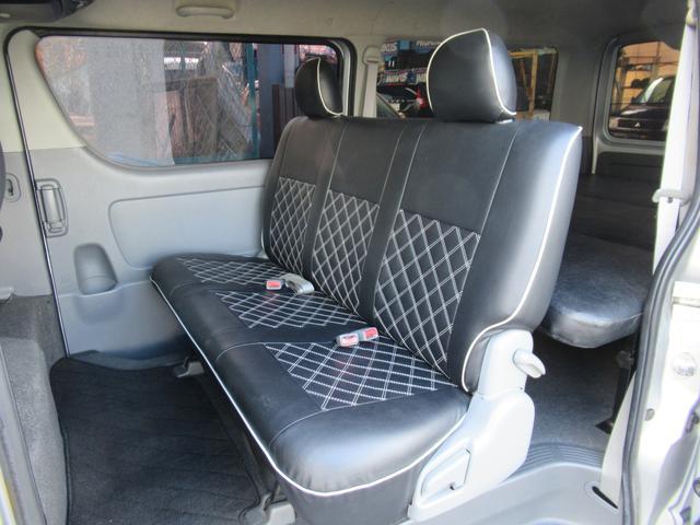 ロングスーパーGL 車中泊 キャンプ 釣り リクライニング機能付きベッドキット オプションリアシートベルト ナビ ETC 社外15インチAW(16枚目)