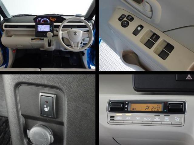 運転席周りの写真です。室内をより快適に、オートエアコン・シートヒーターを装備してます。パワーウィンドウも装備してます。