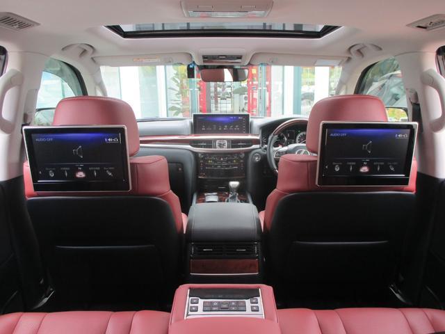 LX570 リヤシートエンターテインメント オプション21AW ドライブレコーダー ガーネットセミアニリンレザー ムーンルーフ 寒冷地仕様 パワーバックドア クールボックス 三眼LEDライト パノラミックビュー(37枚目)