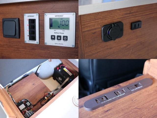ロングDX GLパッケージ FLEXキャンピングカーNH TYPEII 車中泊 走行充電システム サブバッテリー カーテン フロントスポイラー 上開き式冷蔵冷凍庫40L 間接照明ダウンライト  アーバングランデ17インチAW(17枚目)