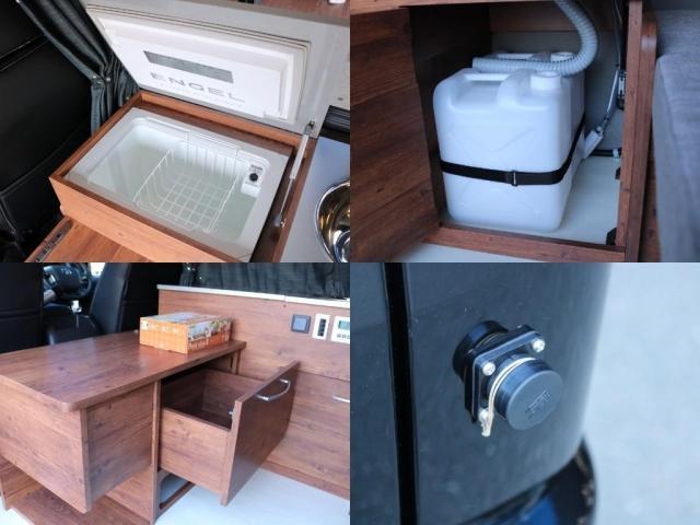 ロングDX GLパッケージ FLEXキャンピングカーNH TYPEII 車中泊 走行充電システム サブバッテリー カーテン フロントスポイラー 上開き式冷蔵冷凍庫40L 間接照明ダウンライト  アーバングランデ17インチAW(18枚目)