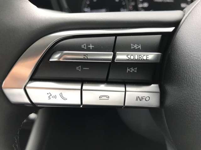 左のステアリングスイッチ!オーディオの操作やブルートゥースでの電話の操作ができます。