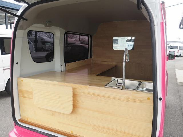 移動販売車 キッチンカー フレンチバス仕様 オールペイント ケータリングカー 8ナンバー エアロパーツ 販売用テーブル 2槽シンク 給排水タンク 3連収納ボックス 100Vコンセント 運転席背板 キーレス(30枚目)