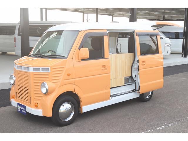 マツダ スクラム 移動販売車 フレンチバス仕様 エアロパーツ 8ナンバー 2人乗り 2槽シンク 給水タンク 水道ポンプ 背板 AT 100V電源タップ