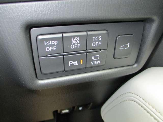 電動リアゲートのスイッチやパーキングセンサーなどのスイッチ類です