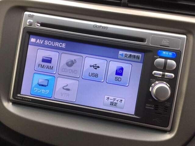 ホンダ純正ナビ(型番VXM-128VS)装備。ワンセグTV視聴、CD/DVD再生機能付き。