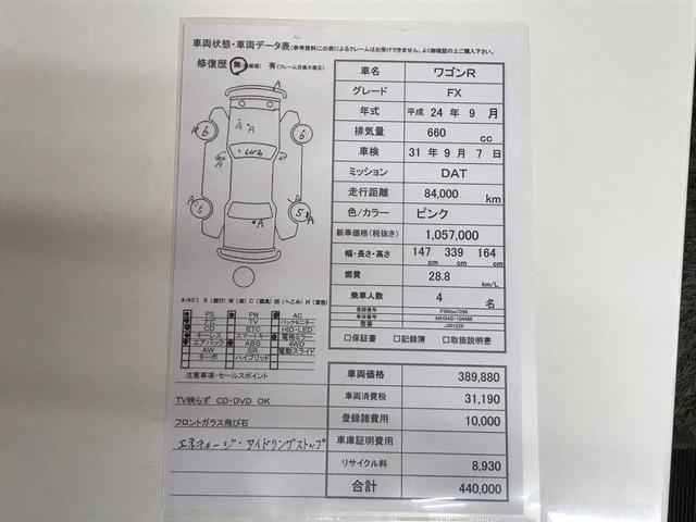 ★☆当店オリジナル★☆  車両状態・車両データ表!隅々まで検査しておりますので細かく記載されています。こちらの表を見ていただければ、お車の状態が一目了然!!お客様の目で、ご確認を!!!!