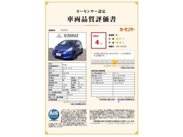 車両品質評価情報です。現車を確認できる方へ販売致します。