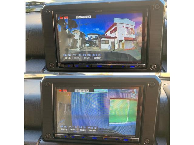 ナビは8インチです。ETC2.0とドライブレコーダー共にKenwoodで、ナビ連動式になっています。写真のように前後の映像がリアルタイムでナビに映しだされます。駐車録画機能も付いています。