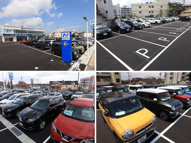 大きなNマークの看板が目印!広々とした駐車場をご用意してお待ちしております。展示場には150台以上のバリエーション豊かな在庫をご用意。メーカー問わず比較していただけます。