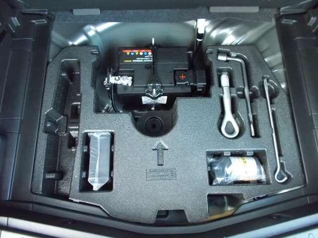 万が一の際のパンク修理キットも搭載で安心!