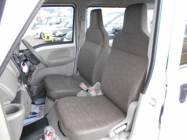 ヘッドレスト一体シートのフロントシート。