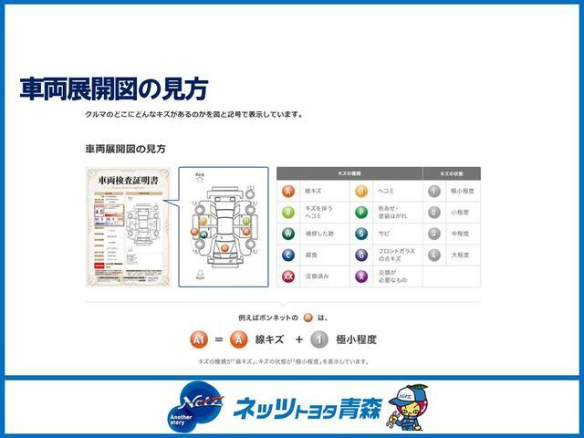 外装は、キズの程度と場所がひと目で分かるよう車両展開図も記載しています。クルマの総合的な評価をS〜Rの11段階で評価。外装および内装は、それぞれA〜Eの5段階で評価しています。