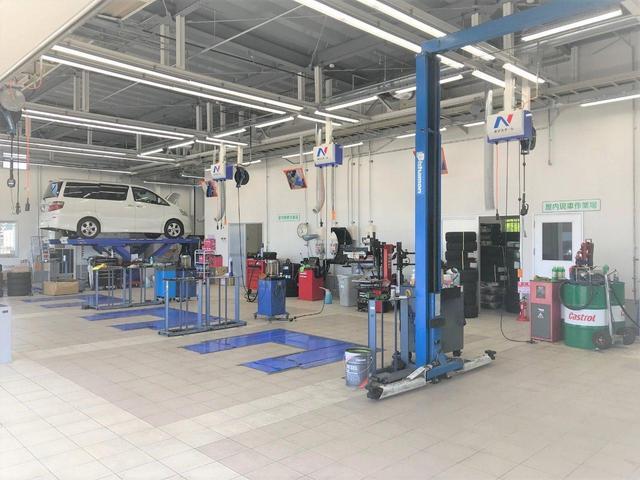 大型整備工場を完備!車検からオイル交換までアフターメンテナンスもお任せください!