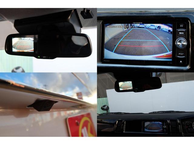 バックカメラ内装の防眩ミラーモニターでは小さく見づらいということで ナビのほうにもバック連動で映るようにしてます! 細かいところにも気を使っております♪