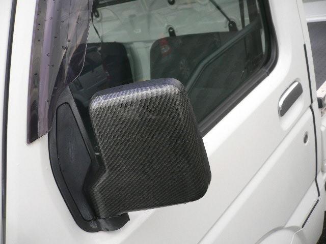 カーボン調のドアミラーカバー付き。アウターハンドルはメッキカバー付きです。