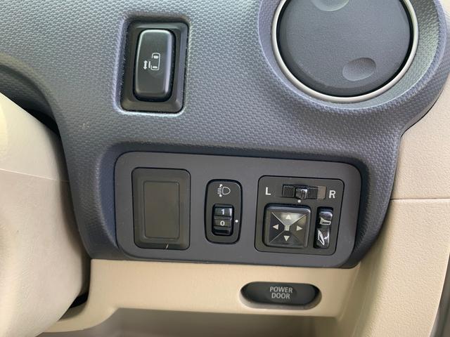 左側パワースライドドアのスイッチは右手側にあります。電動格納ミラーのスイッチもこちら。