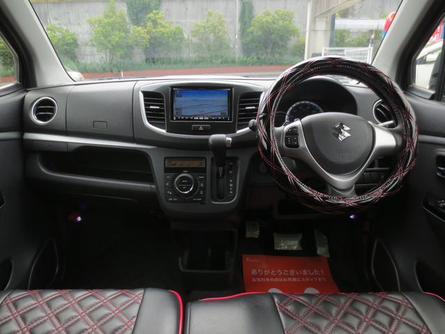 スズキ ワゴンRスティングレー T スマートキー 外メモリーナビ 黒革調シートカバー