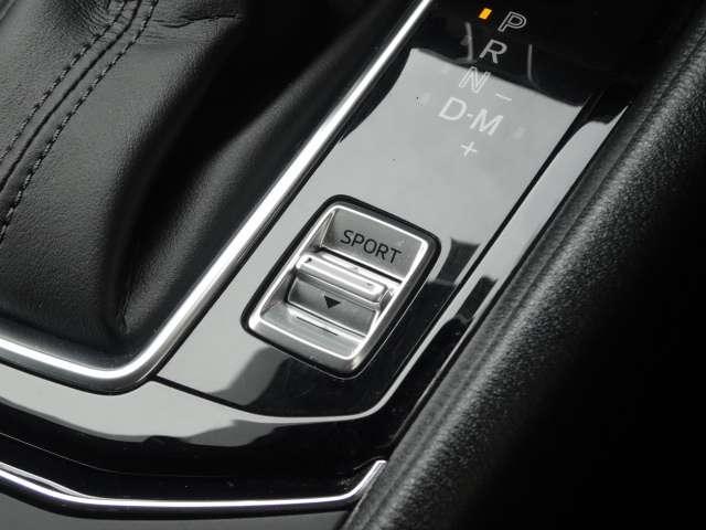スポーツモードにすると、使用状況に応じた走行が楽しめます。電動パーキングブレーキのオートホールドONにすると、停車中にブレーキから足を放しても、自動的に制御し停車時の運転者の負担を軽減します。