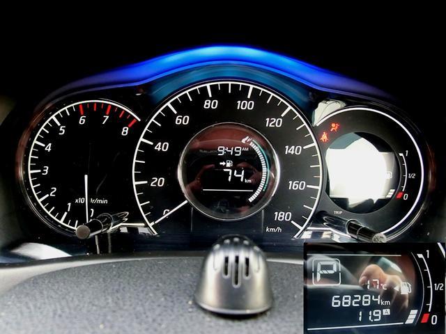 走行距離は68300キロほど。タイミングチェーン採用で10万キロ超えても交換不要です●メーターの照明色はエコ度合いによって変化致します