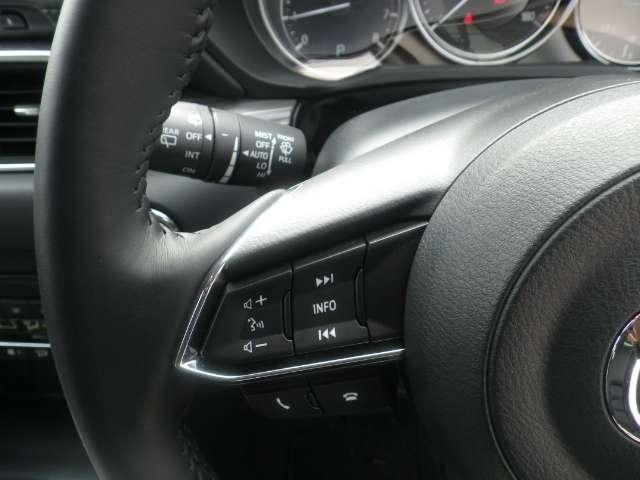ステアリングスイッチは運転姿勢や視線を崩さずに操作が可能です。左側にはオーディオ類と下部にはハンズフリーフォンの通話/終話スイッチがあります。