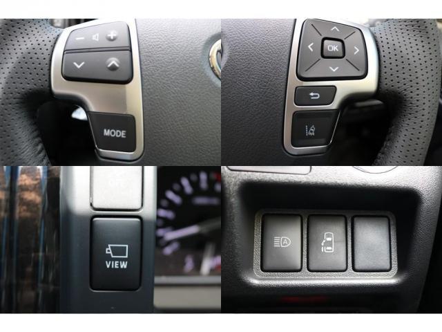 ステアリングスイッチでナビ操作やメーター内のマルチインフォメーションディスプレイの操作が可能!パノラミックビューモニタースイッチ!オートマチックハイビームやパワースライドドアも運転席から操作可能です!