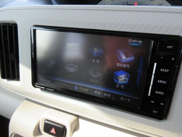 ナビはパナソニックのナビ付!地デジ(フルセグ)TV、DVDが走行中も見れてipodなども使用できるナビ!(別途ケーブルが必要です)SDカードに音楽も録音でき、タッチパネルでとても使いやすいです☆