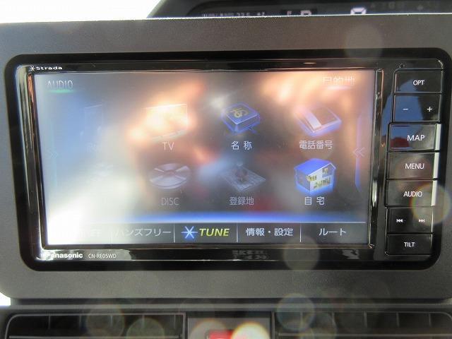 ナビはパナソニックのナビ付!地デジ(フルセグ)TV、DVDが走行中も見れてipodなども使用できるナビ!SDカードに音楽も録音でき、タッチパネルでとても使いやすいです☆