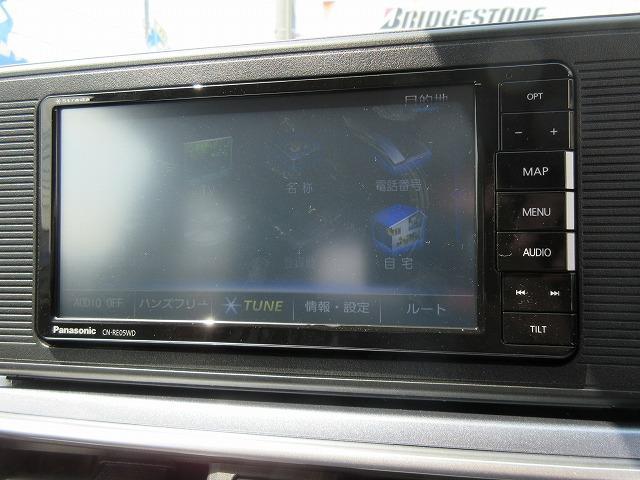 ナビはパナソニックのナビ付!地デジ(フルセグ)TV、DVDが走行中も見れてブルートゥースでipodなども使用できるナビ!SDカードに音楽も録音でき、タッチパネルでとても使いやすいです☆