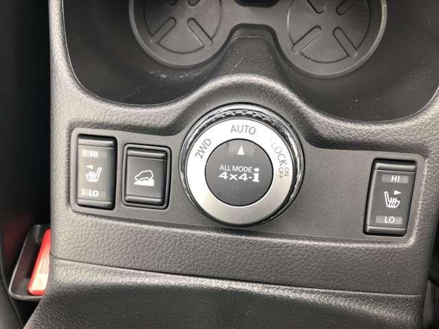 2WD⇔4WDの切り替えダイヤル、シートヒーター、急な下り坂などで車の速度を保持するヒルディセント機能の操作スイッチ☆