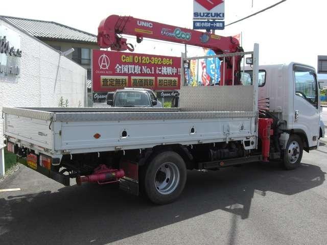 いすゞ エルフトラック 2トン 4WD ターボ 4段クレーン フック格納
