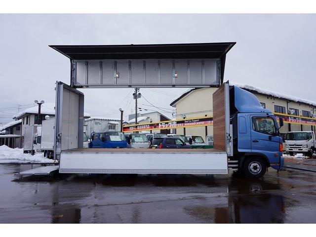 4.5t 増トン ワイドベッド付 ウイング Rエアサス R観音扉/格納ゲート1,000kg付 リモコン付 床フック6対 ラッシング2段 セイコーラック 荷室左右パネルカーペット張り 6MT(42枚目)